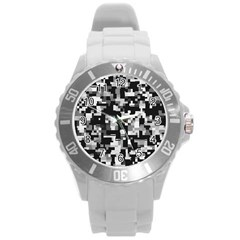 Noise Texture Graphics Generated Round Plastic Sport Watch (l) by Onesevenart