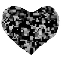 Noise Texture Graphics Generated Large 19  Premium Heart Shape Cushions by Onesevenart