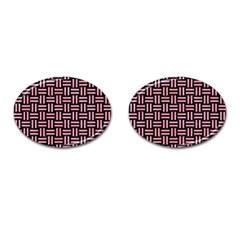 Woven1 Black Marble & Pink Watercolor (r) Cufflinks (oval) by trendistuff
