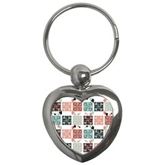 Mint Black Coral Heart Paisley Key Chains (heart)  by Onesevenart