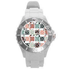 Mint Black Coral Heart Paisley Round Plastic Sport Watch (l) by Onesevenart