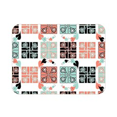 Mint Black Coral Heart Paisley Double Sided Flano Blanket (mini)  by Onesevenart