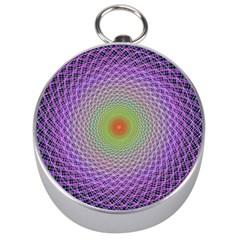 Art Digital Fractal Spiral Spin Silver Compasses by Onesevenart