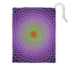 Art Digital Fractal Spiral Spin Drawstring Pouches (xxl) by Onesevenart