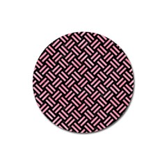 Woven2 Black Marble & Pink Watercolor (r) Magnet 3  (round) by trendistuff