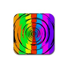 Pattern Colorful Glass Distortion Rubber Square Coaster (4 Pack)  by Onesevenart