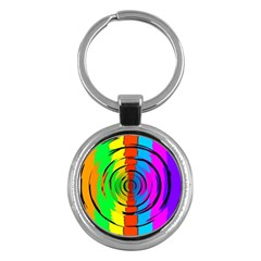 Pattern Colorful Glass Distortion Key Chains (round)  by Onesevenart