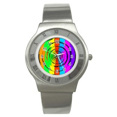 Pattern Colorful Glass Distortion Stainless Steel Watch by Onesevenart