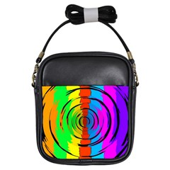 Pattern Colorful Glass Distortion Girls Sling Bags by Onesevenart