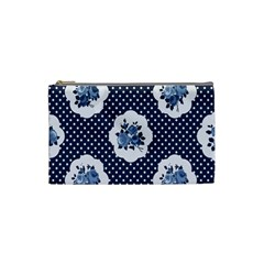 Shabby Chic Navy Blue Cosmetic Bag (small)  by 8fugoso
