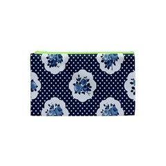 Shabby Chic Navy Blue Cosmetic Bag (xs) by 8fugoso