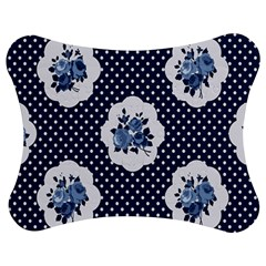 Shabby Chic Navy Blue Jigsaw Puzzle Photo Stand (bow) by 8fugoso