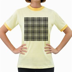 Seamless Pattern Background Black And White Women s Fitted Ringer T Shirts by Onesevenart