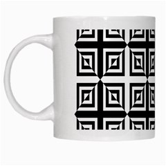 Seamless Pattern Background Black And White White Mugs by Onesevenart
