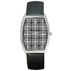 Seamless Pattern Background Black And White Barrel Style Metal Watch by Onesevenart