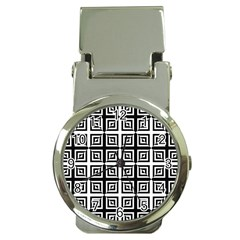 Seamless Pattern Background Black And White Money Clip Watches by Onesevenart