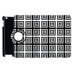 Seamless Pattern Background Black And White Apple Ipad 2 Flip 360 Case by Onesevenart