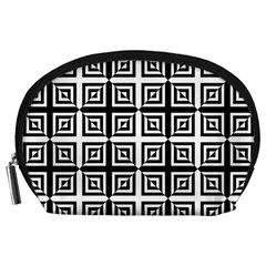 Seamless Pattern Background Black And White Accessory Pouches (large)  by Onesevenart