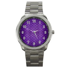 Brick1 Black Marble & Purple Brushed Metal Sport Metal Watch by trendistuff