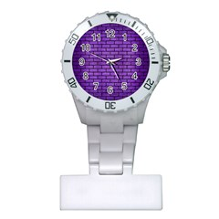 Brick1 Black Marble & Purple Brushed Metal Plastic Nurses Watch by trendistuff