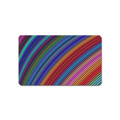 Multicolored Stripe Curve Striped Magnet (name Card) by Onesevenart