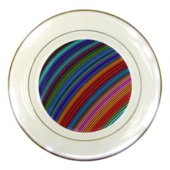 Multicolored Stripe Curve Striped Porcelain Plates by Onesevenart