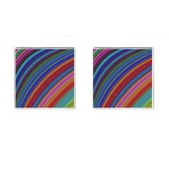 Multicolored Stripe Curve Striped Cufflinks (square) by Onesevenart