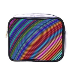 Multicolored Stripe Curve Striped Mini Toiletries Bags by Onesevenart