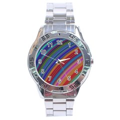 Multicolored Stripe Curve Striped Stainless Steel Analogue Watch by Onesevenart