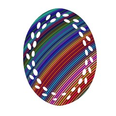 Multicolored Stripe Curve Striped Oval Filigree Ornament (two Sides) by Onesevenart