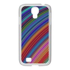 Multicolored Stripe Curve Striped Samsung Galaxy S4 I9500/ I9505 Case (white) by Onesevenart