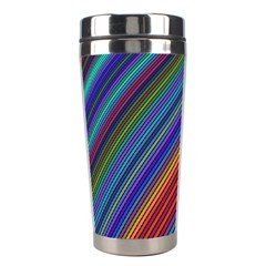 Multicolored Stripe Curve Striped Stainless Steel Travel Tumblers by Onesevenart
