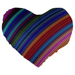 Multicolored Stripe Curve Striped Large 19  Premium Flano Heart Shape Cushions by Onesevenart