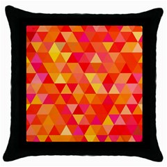 Triangle Tile Mosaic Pattern Throw Pillow Case (black) by Onesevenart