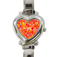 Triangle Tile Mosaic Pattern Heart Italian Charm Watch by Onesevenart