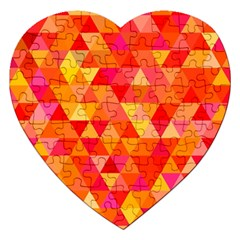 Triangle Tile Mosaic Pattern Jigsaw Puzzle (heart) by Onesevenart
