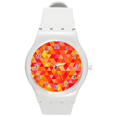 Triangle Tile Mosaic Pattern Round Plastic Sport Watch (m) by Onesevenart