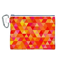 Triangle Tile Mosaic Pattern Canvas Cosmetic Bag (l) by Onesevenart