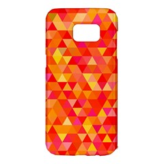 Triangle Tile Mosaic Pattern Samsung Galaxy S7 Edge Hardshell Case by Onesevenart