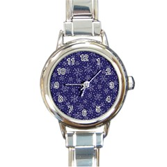Snowflakes Pattern Round Italian Charm Watch by Onesevenart