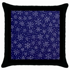 Snowflakes Pattern Throw Pillow Case (black) by Onesevenart