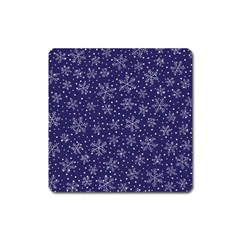 Snowflakes Pattern Square Magnet by Onesevenart