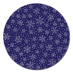 Snowflakes Pattern Magnet 5  (round) by Onesevenart