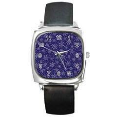 Snowflakes Pattern Square Metal Watch by Onesevenart