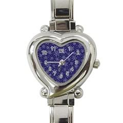 Snowflakes Pattern Heart Italian Charm Watch by Onesevenart