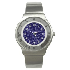 Snowflakes Pattern Stainless Steel Watch by Onesevenart