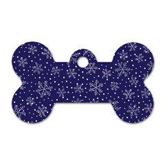 Snowflakes Pattern Dog Tag Bone (one Side) by Onesevenart