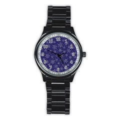 Snowflakes Pattern Stainless Steel Round Watch by Onesevenart