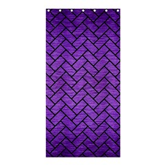 Brick2 Black Marble & Purple Brushed Metal Shower Curtain 36  X 72  (stall)  by trendistuff