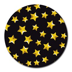 Yellow Stars Pattern Round Mousepads by Onesevenart